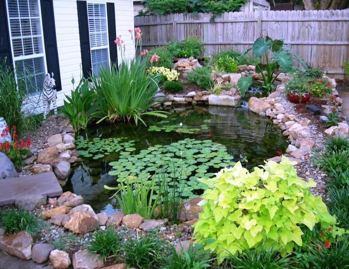 Небольшой пруд на маленьком участке в саду
