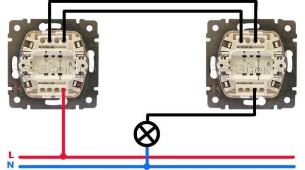 схема двойного проходного выключателя с двух мест