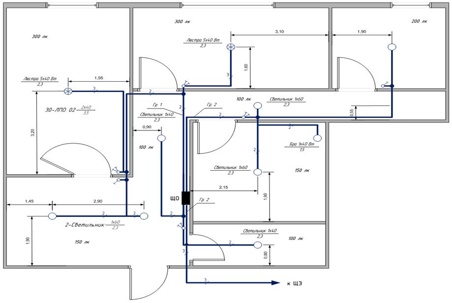 Схема осветительной сети