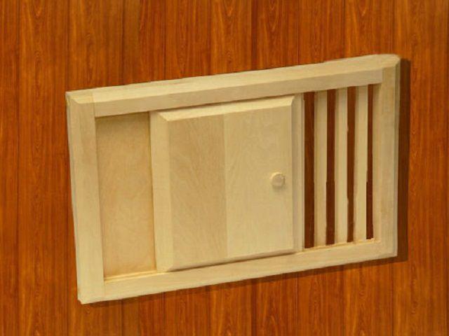 Размер вентиляционного окна должен соответствовать объему банного помещения